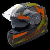 Kask motocyklowy ROCC 411 czarny-pomarańczowy-oliwkowy XS