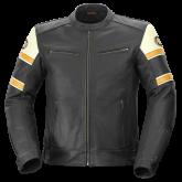 Kurtka motocyklowa skórzana BUSE Milestone 84 czarno-biało-pomarańczowa