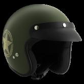 Kask motocyklowy ROCC Classic Dekor Star oliwkowy matowy