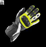 Rękawice motocyklowe BUSE Pit Lane czarno-biało-neonowe 11