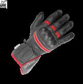 Rękawice motocyklowe BUSE Pit Lane czarno-neonowo czerwone 09