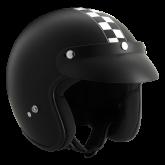 Kask motocyklowy ROCC Classic Dekor Race Flag czarny matowy