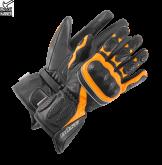 Rękawice motocyklowe damskie BUSE Pit Lane czarno-pomarańczowe